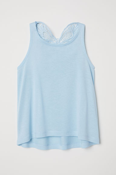 Top with a crocheted butterfly - Light blue - Kids | H&M