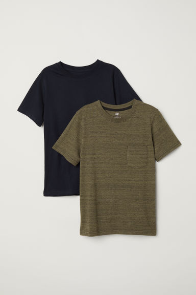 2-pack T-shirts - Khaki green marl - Kids | H&M