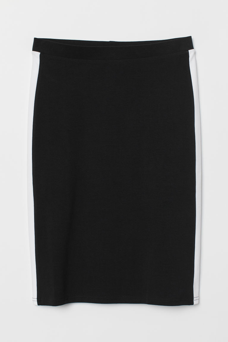 Jersey pencil skirt - Black/White -  | H&M CN