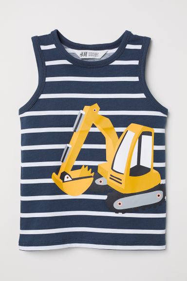 Vest top with a motif - Dark blue/Digger -  | H&M