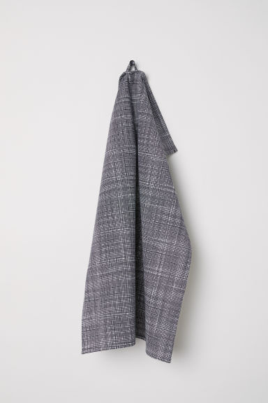 Patterned Tea Towel - Charcoal gray/white patterned - Home All | H&M CA