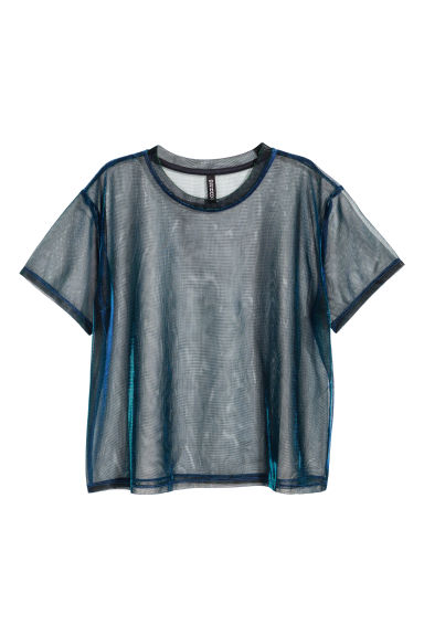 Shimmering mesh top - Blue-green -  | H&M