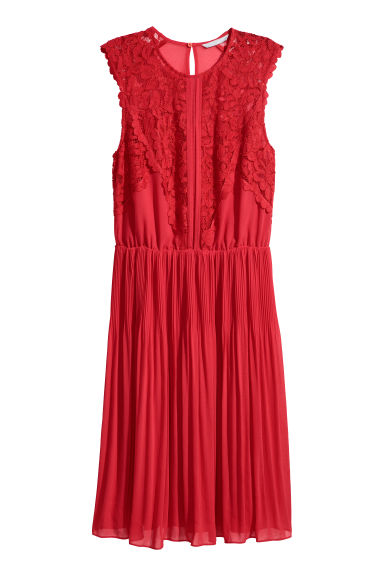 Chiffon dress - Bright red - Ladies | H&M