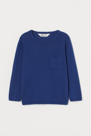 Fine-knit pocket-detail jumper