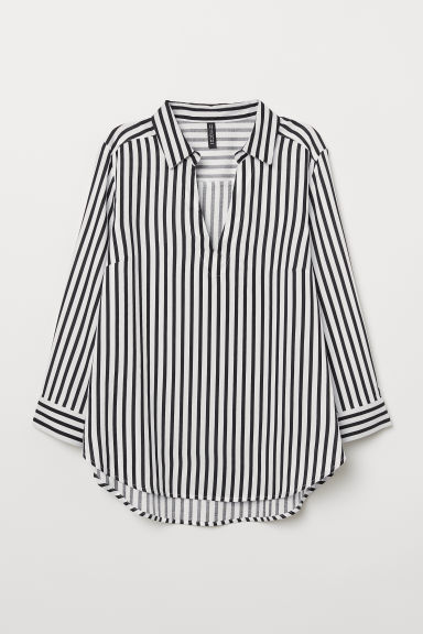 V-neck blouse - Black/White striped -  | H&M