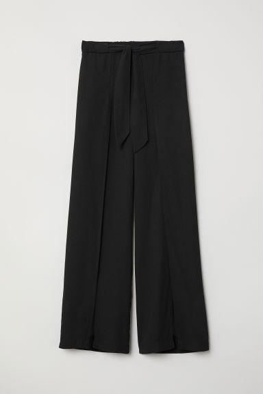 Wide trousers with slits - Black - Ladies | H&M CN