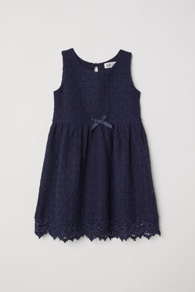 Sleeveless lace dress - Dark blue - Kids | H&M