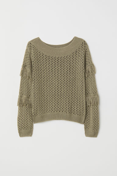 Knitted jumper with fringing - Khaki green - Kids | H&M
