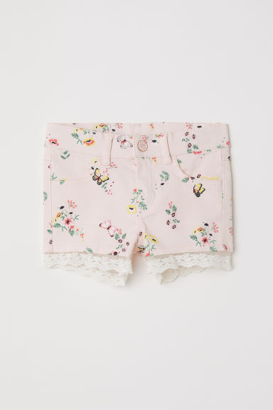 Lace-trimmed twill shorts - Light pink/Floral -  | H&M CN