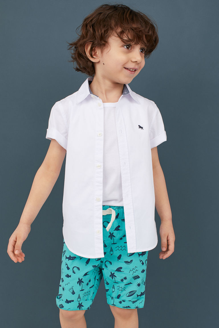 Cotton shorts - Turquoise/Patterned - Kids | H&M CN