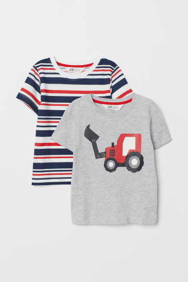 2-pack T-shirts - Grey marl/Tractor - Kids | H&M GB