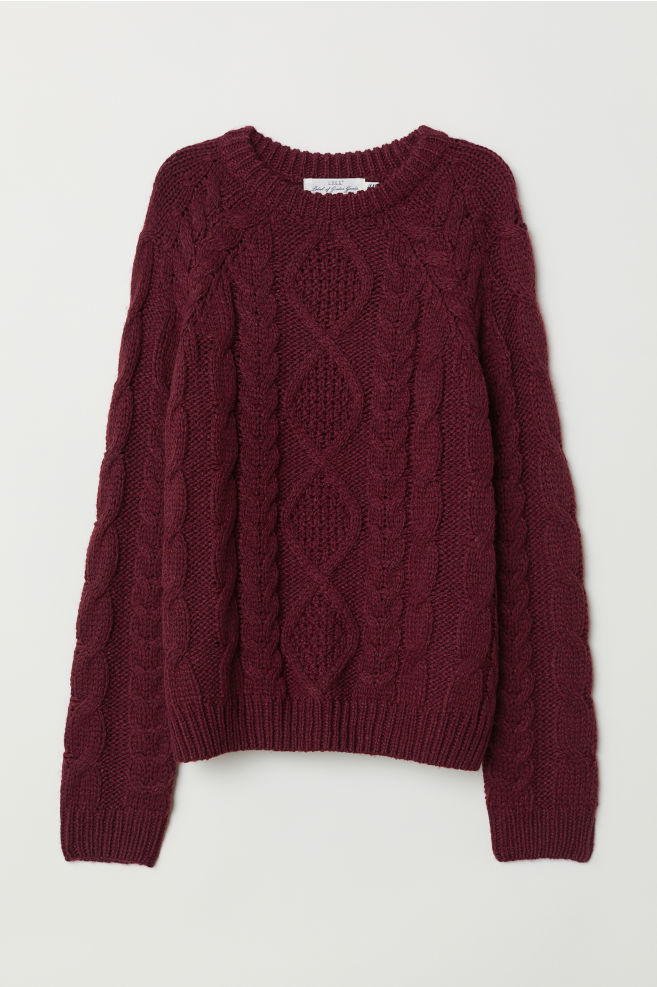 Cable Knit Sweater Burgundy Ladies Hm Us