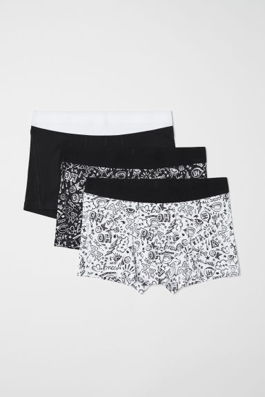 3-pack short trunks - Black/White patterned - Men | H&M