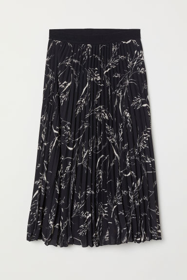 Pleated skirt - Black/Leaf-patterned - Ladies | H&M