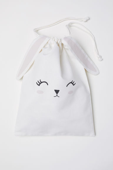 Drawstring storage bag - White/Rabbit - Home All | H&M GB