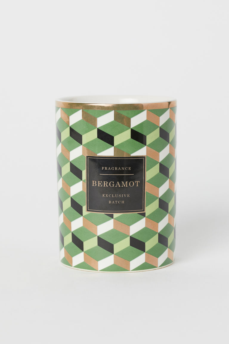 Scented candle in holder - Green/Bergamot - Home All | H&M GB