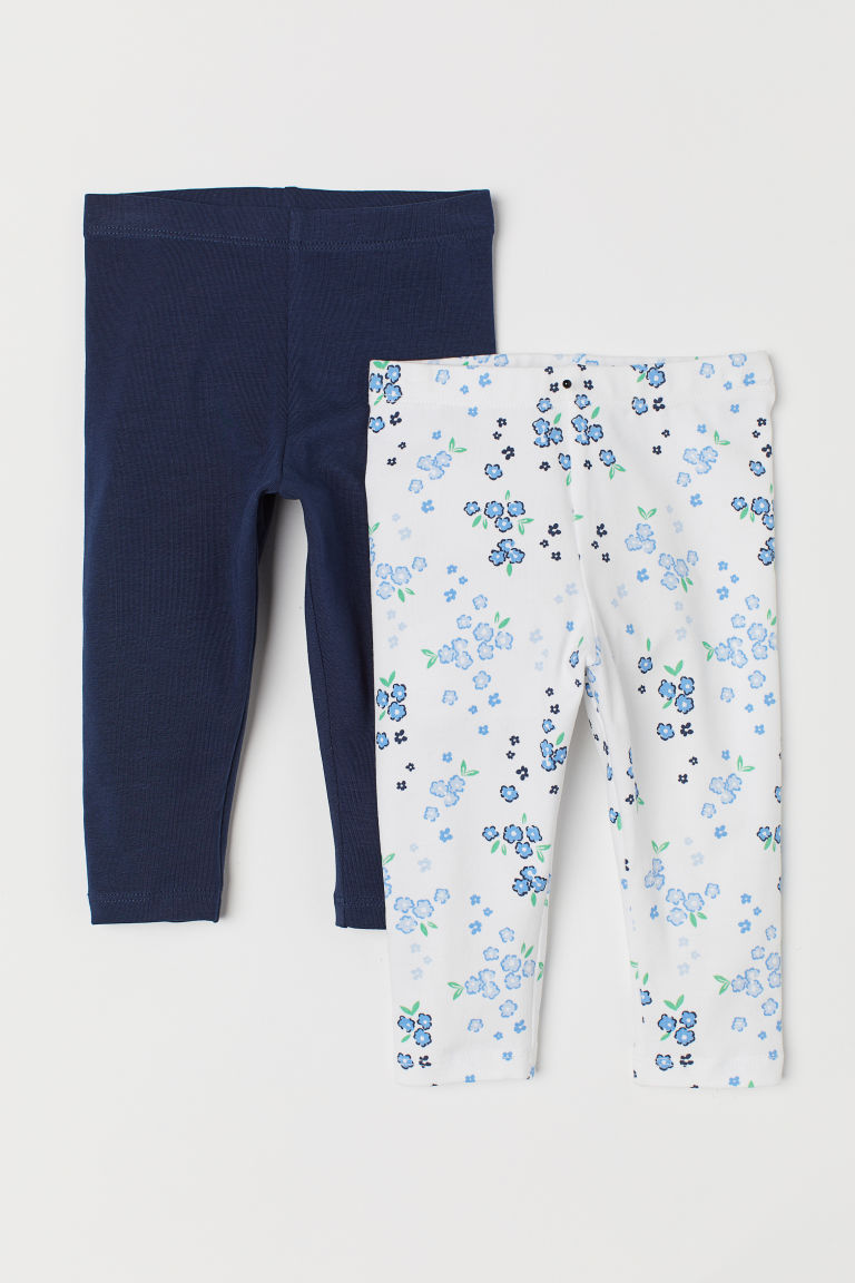 2-pack leggings - White/Floral - Kids | H&M