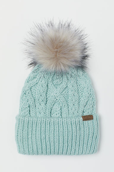 Cable-knit hat - Mint green - Kids | H&M CN