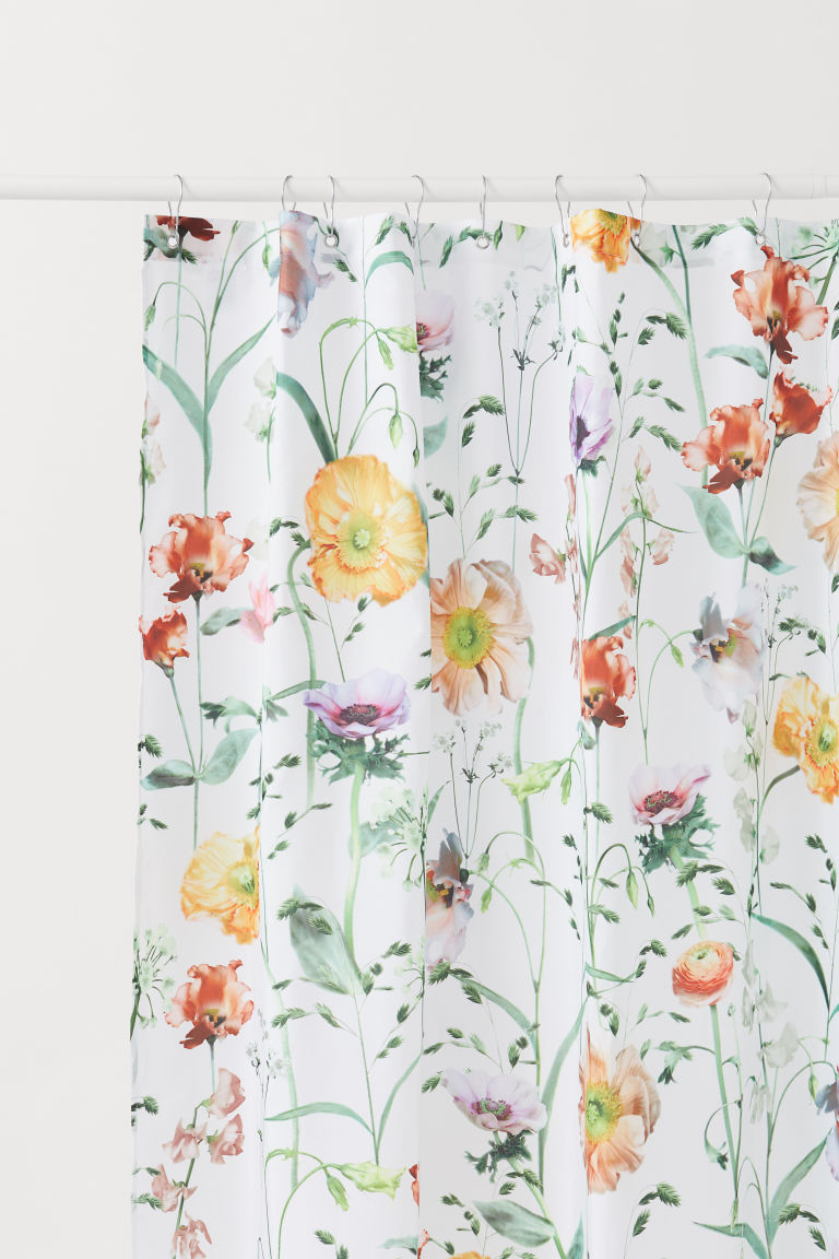 Shower curtain - White/Floral - Home All | H&M CN