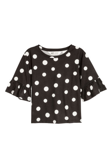 Flounce-sleeved jersey top - Black/White spotted - Kids | H&M CN