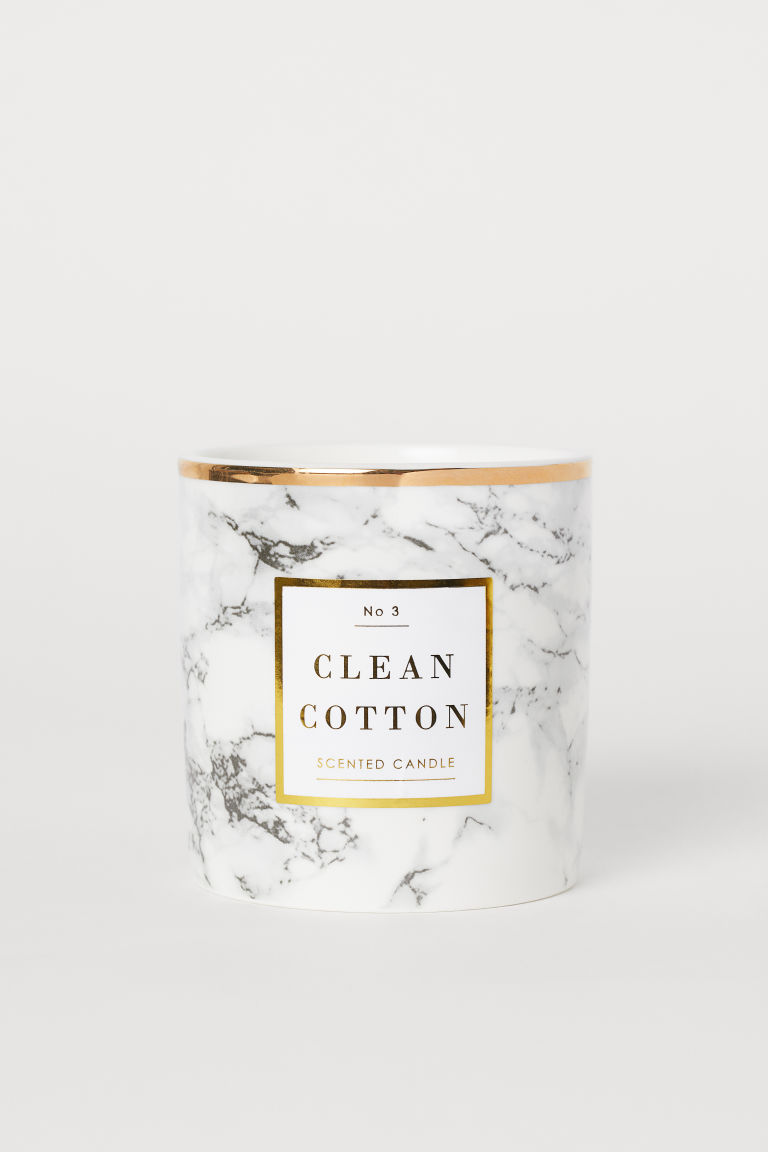 Bougie parfumée - Blanc/Clean Cotton - HOME | H&M BE