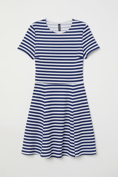 Jersey Dress - White/blue striped -  | H&M US