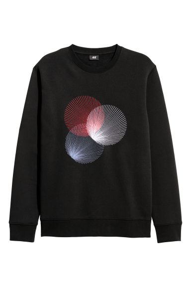 Sweatshirt with a motif - Black - Men | H&M