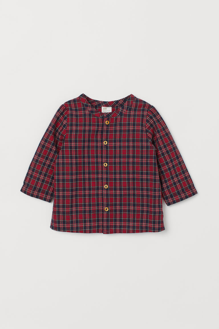 Cotton Shirt - Dark blue/red plaid - Kids | H&M CA