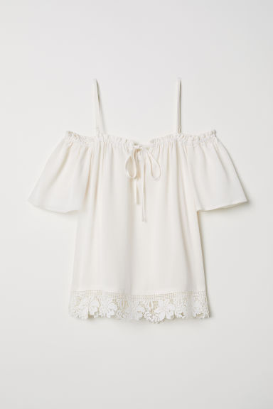 Cold shoulder blouse - Cream - Ladies | H&M CN