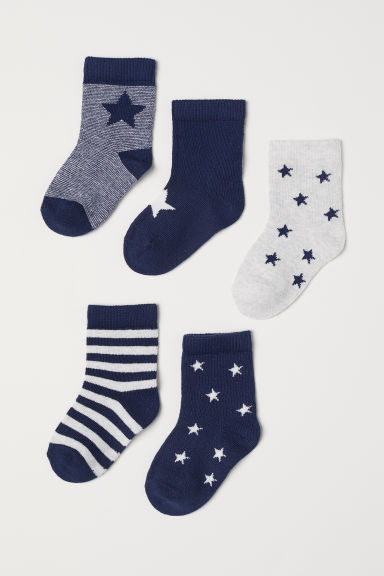 5-pack socks - Dark blue/Stars - Kids | H&M