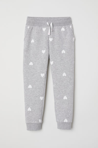 Joggers - Light grey/Hearts - Kids | H&M