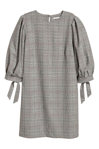 Puff-sleeved dress - Grey/Dogtooth - Ladies | H&M