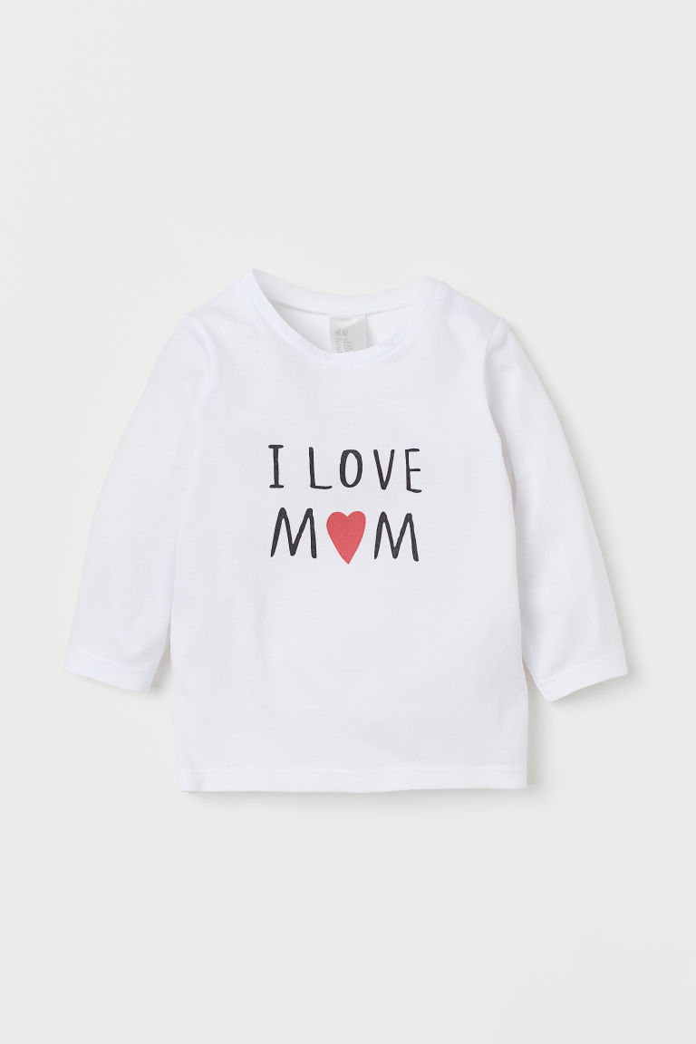 T-shirt à manches longues - Blanc/I Love Mom - ENFANT | H&M BE