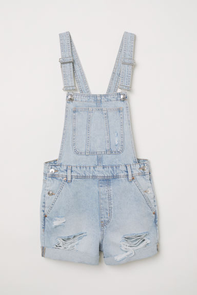 Denim dungaree shorts - Light blue washed out -  | H&M CN
