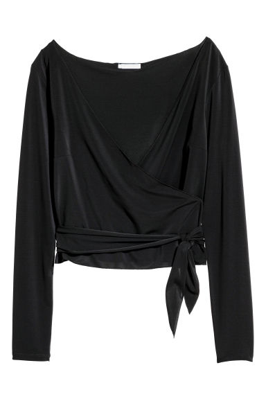 Short wrapover top - Black -  | H&M