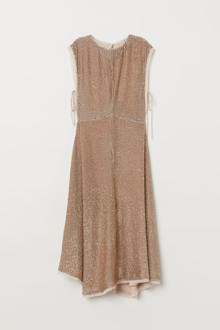 Sequined dress - Beige/Gold-coloured - Ladies | H&M GB