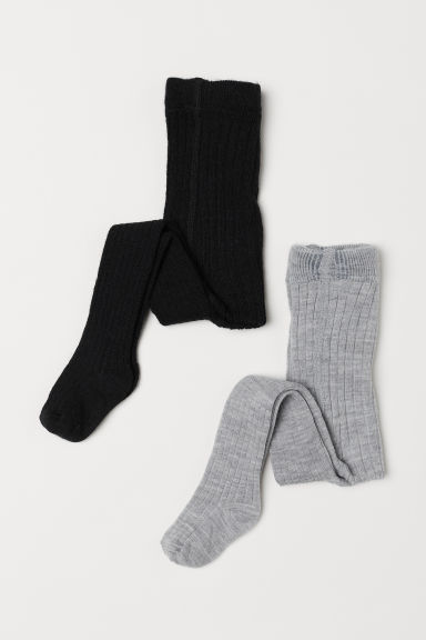 2-pack wool-blend tights - Black/Light grey marl - Kids | H&M