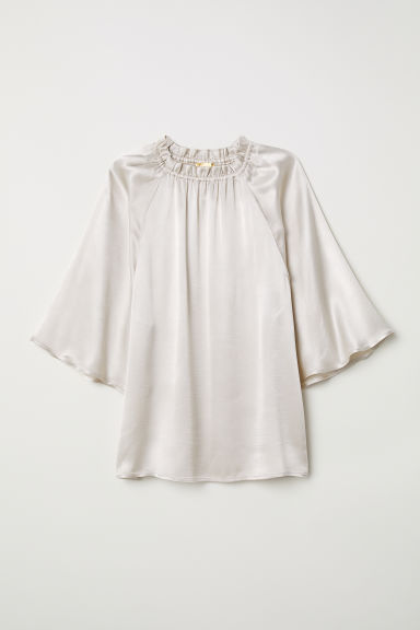 Blouse with a frilled collar - Light beige - Ladies | H&M