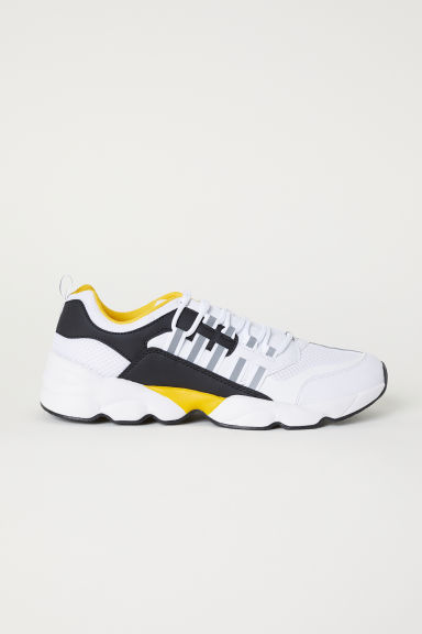 Mesh trainers - White/Yellow - Men | H&M