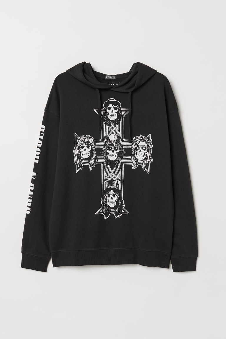 Printed hooded top - Black/Guns N' Roses - Men | H&M