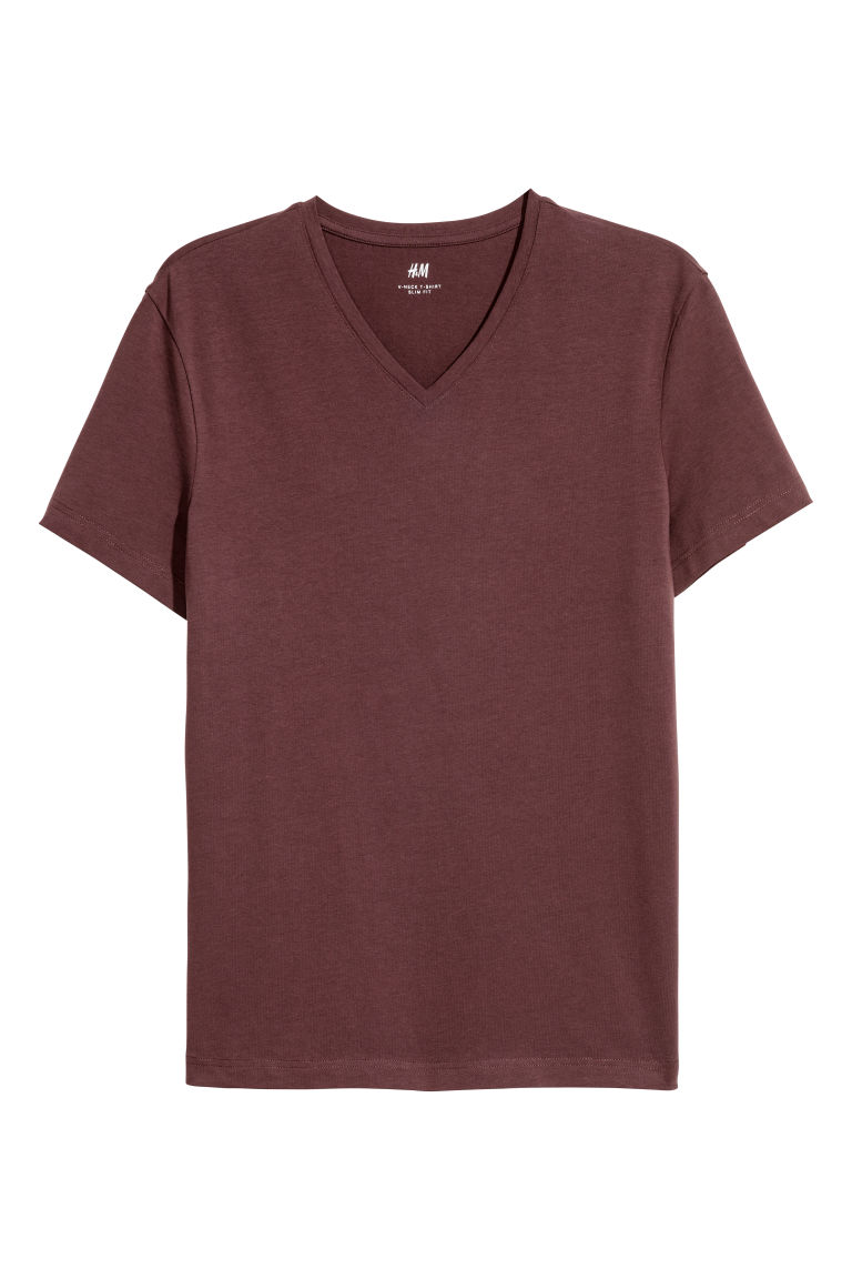 2-pack T-shirts Slim fit - Dark brown - Men | H&M