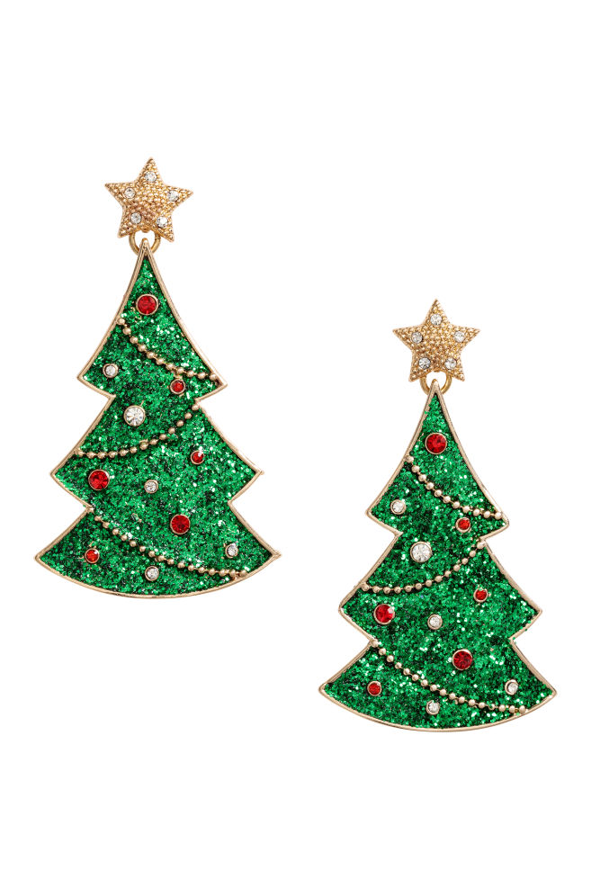 christmas earrings gold colouredchristmas tree hm - Hm Christmas