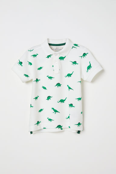 Polo shirt - White/Dinosaurs - Kids | H&M