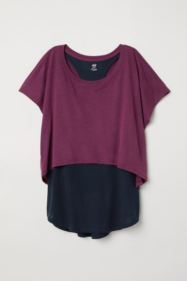 Double-layered sports top - Burgundy - Ladies | H&M