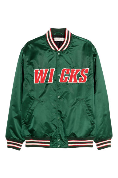 Nylon baseball jacket - Green - Men | H&M CN