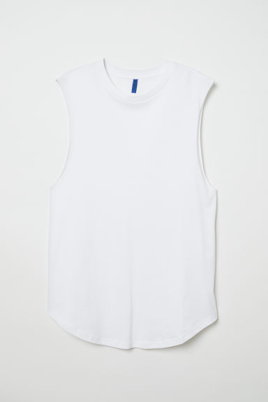 Mouwloos T-shirt - Wit - HEREN | H&M BE