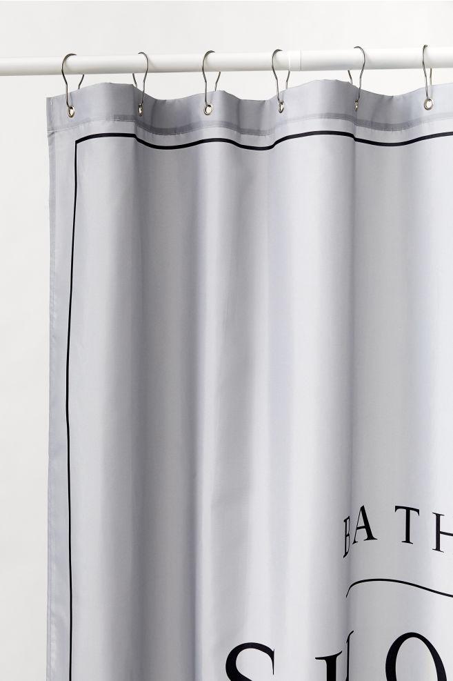 Fasjonable Dusjforheng med teksttrykk - Lys grå - Home All | H&M NO RR-62