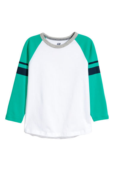 Jersey top - Bright green/White -  | H&M