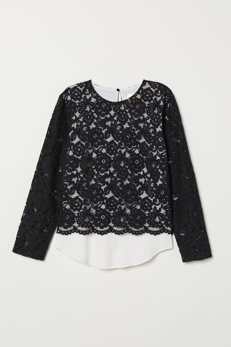 Double-layered lace top - Black - Ladies | H&M CN