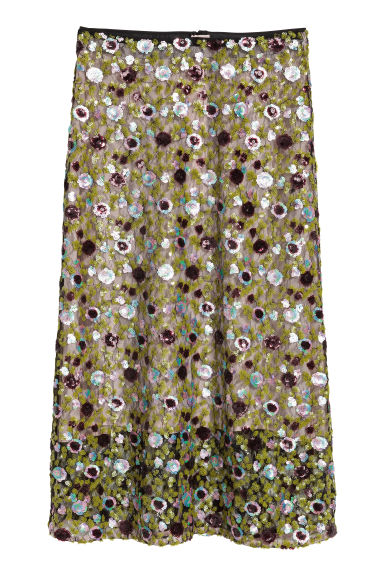 Calf-length sequined skirt - Light green/Purple - Ladies | H&M GB